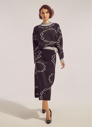 Monamoda Zincir Desenli Etek Siyah